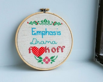 Emphasis Drama F+ck Off Cross Stitch from Skins