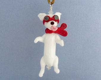 Lampwork Dog with Goggles and Scarf - Handcrafted Glass SRA