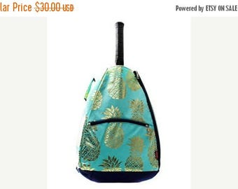 ON SALE Personalized Tennis Racket Cover Bag  Aqua with Gold Pineapple Print