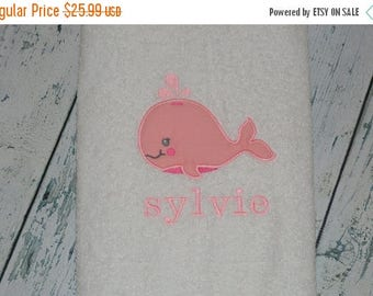ON SALE PERSONALIZED Whale Bath Towel for Kids Monogrammed Childrens Towel
