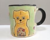 RESERVED FOR MJMORO.  Dog Full Of Love Mug, Animal Pottery