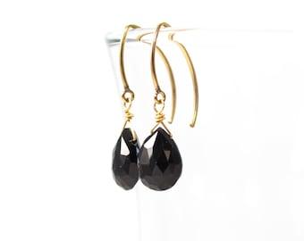 Black Garnet Dangle Earrings, Black Garnet Drop Earrings, Black and Gold Earrings, Gold Fill Drop Earrings, Gold Gemstone Earrings
