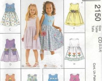 McCall's 2150 Children's Girl's Dresses  Size 2-3-4   New- Uncut
