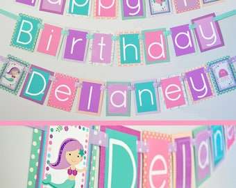 Under the Sea Mermaid Birthday Party Banner Fully Assembled Decorations | Mermaid Party | Under the Sea Birthday | Mermaid Pink Purple Aqua