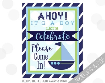 Nautical Baby Shower Printable Sign | Baby Welcome Sign | Ahoy Door Sign | Ahoy It's A Boy | Baby Shower Sign | Navy Blue Green Shower