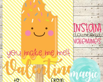 INSTANT DOWNLOAD Stuck on you popsicle  Printable  Valentine for Valentines Day