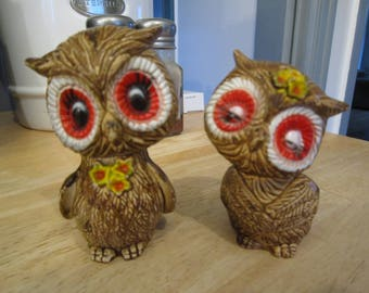 70's Brown Big Eyed Resin Owl Salt and Pepper Shakers