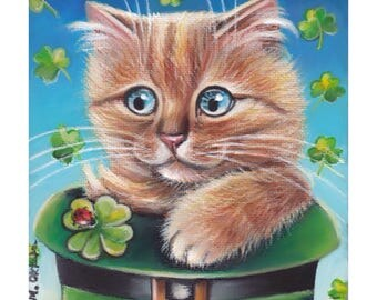 Orange  Tabby Cat St. Patrick's Day 5x5 Acrylic Art Painting