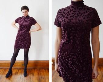 1990s Purple Velvet Turtleneck Dress - S/M