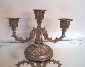 Vintage Silverplate 3 Arm Candelabra ~ Small ornate Candelabra