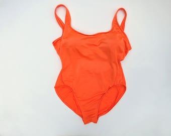 NEON ORANGE // 90s baywatch style high cut swimsuit