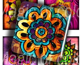 Digital Collage of  Colourful Indian Patterns - 63  1x1 Inch Square  JPG images - Digital  Collage Sheet
