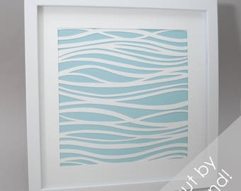 swirly stripes - PAPER CUTTING - handmade art, Paper cut art, waves, water, unique wall art, square, framed paper cut, white paper, abstract