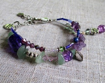 Violet Bouquet Beaded Bracelet Handmade Bohemian Gypsy Multi Layer Style