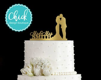 Custom Name and Couple Kissing, Bride in Mermaid Dress Wedding Cake Topper Hand Painted in Metallic Paint