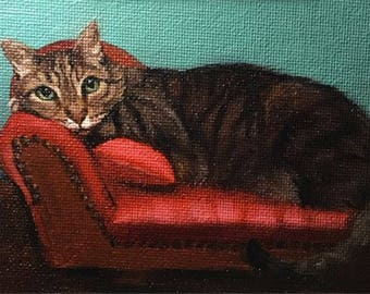 Paint Me Like one of Your French Girls 06 - Original Cat Painting by Nancy Cuevas - LIttle Kitty Paintings