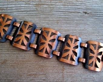 Copper Wide Link Bracelet, Vintage Copper Link Bracelet, Modernist Copper Bracelet, Cutout Link Bracelet, Modernist Copper Jewelry