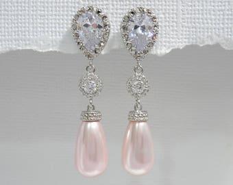 Light Pink Earrings, Blush Pink Earrings, Pink Wedding Earrings, Bridal Earrings, Bridesmaid Gift Earrings, Wedding Party Gift Earrings