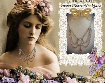 SweetHeart Victorian  Lavender Crystal Necklace