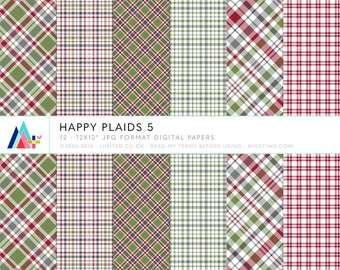 Happy Plaids 5 Digital Papers - 12 patterns for scrapbooking, cards, invitations, printables and more - instant download - CU OK