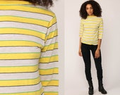 Retro Shirt Striped Tshirt Long 3/4 Sleeve Shirt BOATNECK Tee 80s Hipster Retro Yellow White Boat Neck T Shirt 1980s Small