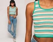 70s Tank Top Striped Crop Top Ringer Tee Grunge Shirt Retro Semi Sheer Sleeveless Bohemian 1970s Vintage Summer Green White Extra Small xs