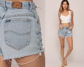 Cut Off Shorts 80s Denim Shorts RIPPED Shorts High Waisted STUDDED Jean Cutoffs 1970s Frayed Vintage Hipster Lee Small