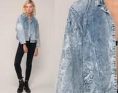 80s Denim Jacket Jean Jacket Vintage ACID WASH Grunge Jacket Trucker Button Up Light Blue 90s Hipster small