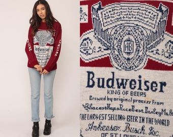 Budweiser Sweater Beer Sweater Drinking Shirt 80s Vintage Sweater Red Pullover Alcohol Grunge Jumper Retro Slouch Graphic Party Medium