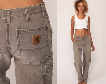 Carhartt Pants Workwear Taupe Boyfriend Work Pants 90s Baggy Cargo High Waisted Denim Pants Straight Leg Vintage Hipster Large 32