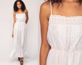 Sun Dress Boho White Cotton 70s Sundress SHEER Maxi Vintage 1970s Bohemian Hippie Summer High Waist Plain Spaghetti Small Medium