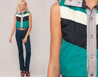 Ski Vest Puffer Vest Retro 70s Vest Striped Puffy Sleeveless Jacket Winter Color Block 80s Green Black Hipster Vintage 1970s Extra Small xs