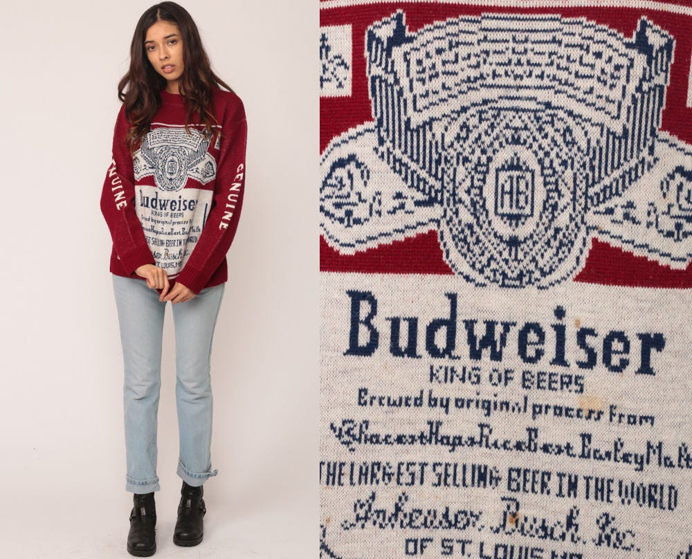 Budweiser Sweater Beer Sweater Drinking Shirt 80s Vintage