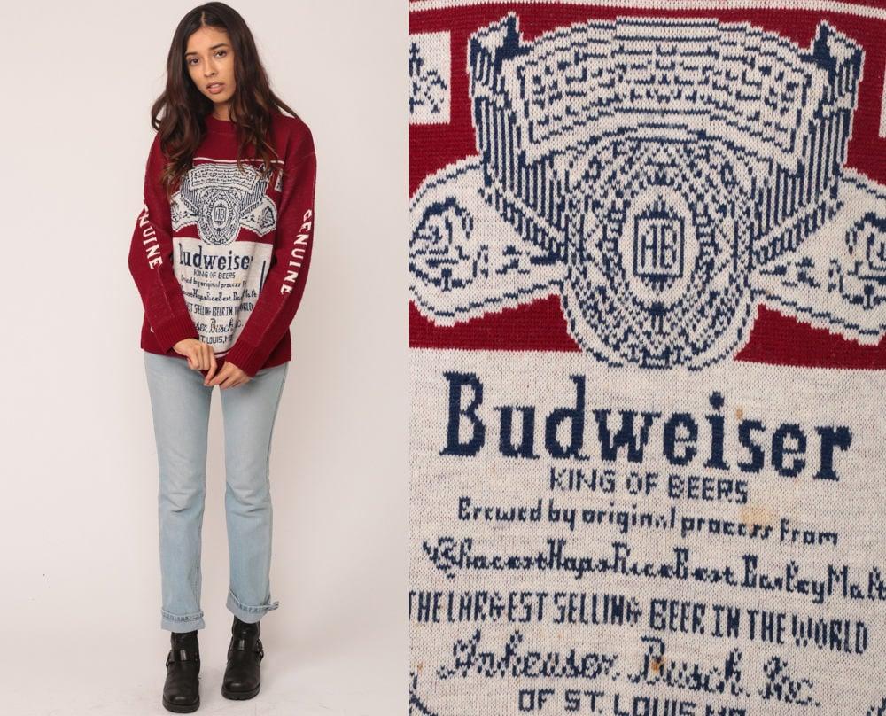 Budweiser Sweater Beer Sweater Drinking Shirt 80s Vintage