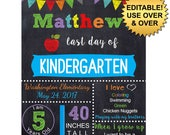 DIY editable printable Last day of school ANY grade Boys chalkboard poster Instant download sign Digital File PDF 16x20 or 20x30 8x10