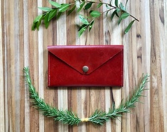 Leather Wallet - Envelope Style - The Lupe - in Restoration Red