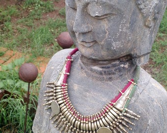 Primitive Rana Tharu Tribal Spike Collar Kanthshri Necklace Nepal No2