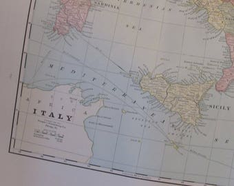 1891 Map- Italy - Atlas Page 14.5 x 22 in Great for Framing