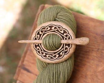 Celtic Myrtlewood Shawl Pin - Handmade Wooden Shawl Pin -Wood Shawl Pin- Eco Knitting Supplies