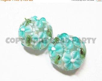 20% OFF LOOSE Beads - Lampwork Glass Art Beads - Light Aqua Blue, White, and Green Fancy Flower Lentils (2 beads) - gla945