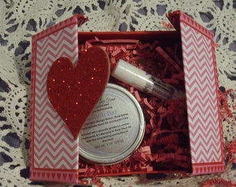 Valentine Gift Box Herbal Infused Lotion Bar with Tin & Lavender Lip Balm, Natural Skin Care, Lavender Moisterizers, Beeswax Lip Balm