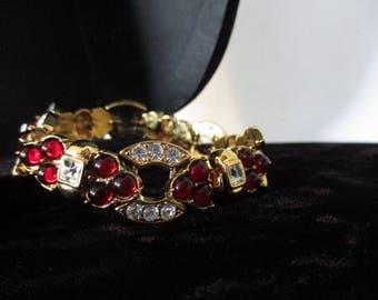 Stamped Nolan Miller Glamour Diamond Bordeaux Clear Crystal & Faux Garnet Bead Bracelet