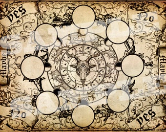 Baphomet Pendulum Board - Brown Parchment - Digital Download emailed to you