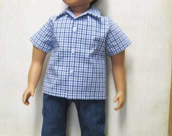 """Blue Plaid Shirt with Denim Slacks for 23"""" MyTwinn Boy Doll"""