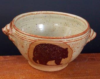 Earthy Eggshell  Porridge Bowl ~ Big Bear Design ~