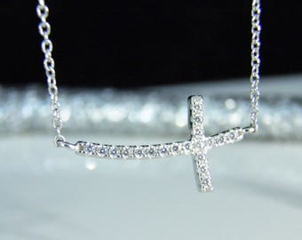 Sideways Cross Necklace  - CZ Sterling Silver Cross