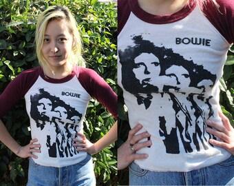 Authentic Vintage David Bowie baseball t-shirt//quarter sleeve//size xs//rare vintage t-shirt