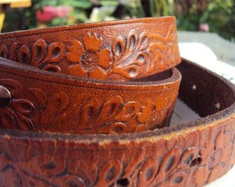 Vintage Tooled Leather Belt Hand Made Flowers Vines Hippie Bohemian Chic Hipster 1970s Seventies Brass Buckle Boho