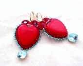 red gold aquamarine earrings , red heart turquoise dangle earrings , mother's day unique gift , Swarovski crystal and silk thread earrings