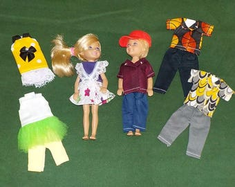 CHLSE-D-8) 5 inch Chelsea and 5 inch Darin dolls and 3 outfits each